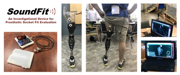Five images placed together to show the brand, SoundFit with it's products of prosthetics and how they feel/fit securely on the person wearing them.