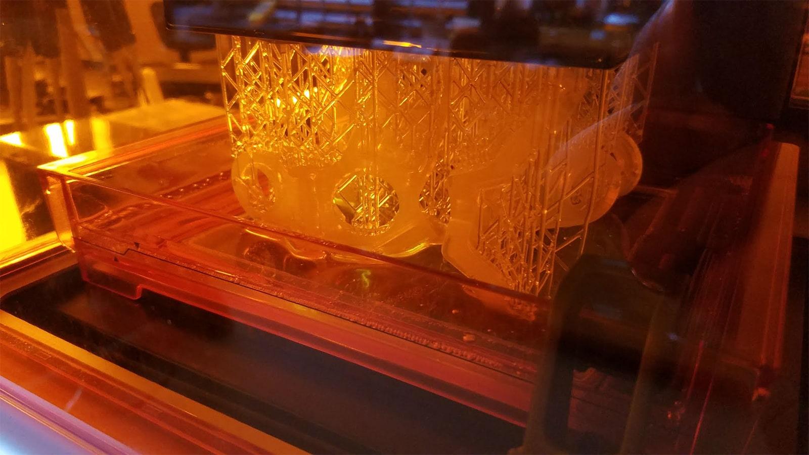 An image of something being 3D printed through Vame