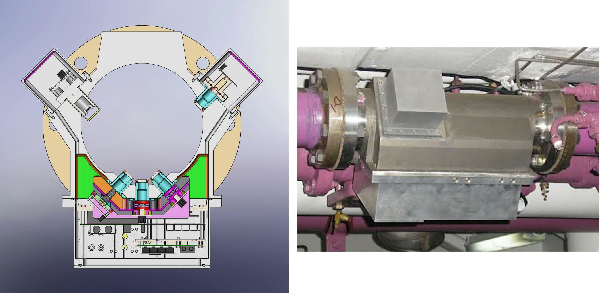 Two images that show how an autogrape works. One image is a sketch and the other is real.