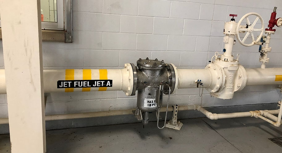 An image of a pipe, holding jet fuel. The fiber sensors work with important fluids like this to monitor them.