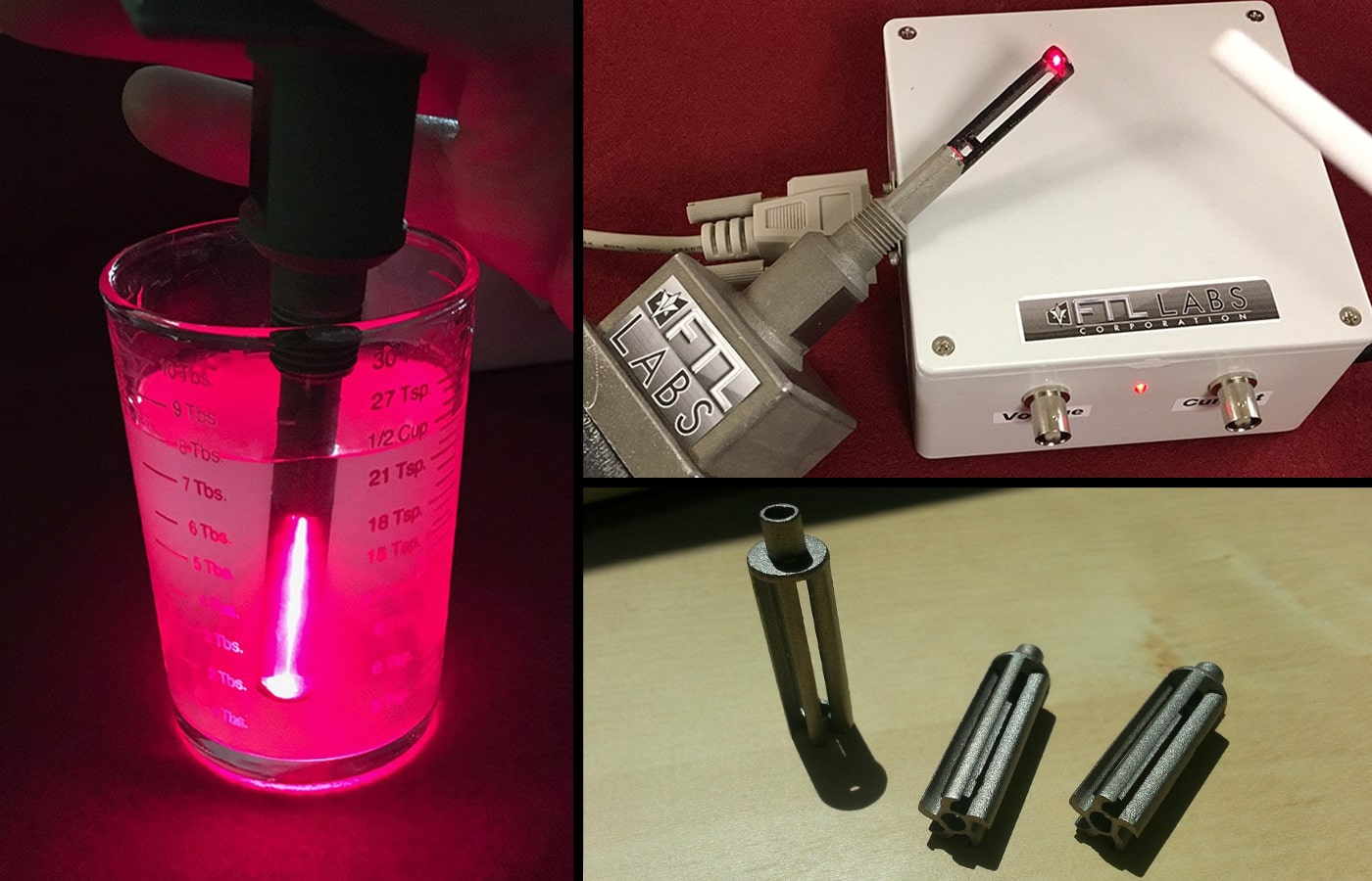 Images of different types of fiber sensors used to determine aspects and ratio about fluids.