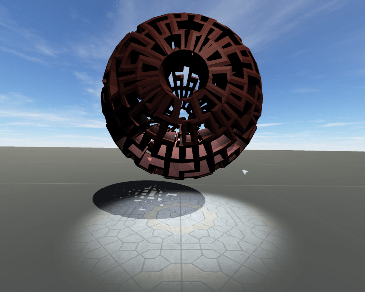 A render of a carved sphere, lacey sphere