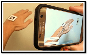 A hand being recorded on a cell phone with a sensor on the dorsal of the hand.